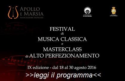 IX edizione del FESTIVAL DI MUSICA CLASSICA e MASTERCLASS di ALTO PERFEZIONAMENTO che si svolgerà nel comune di Montella dal 18 al 30 Agosto 2016