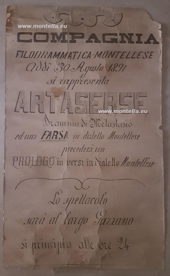 Locandina Compagnia filodrammatica montellese: Artaserse (spettacolo del 30 agosto 1891)