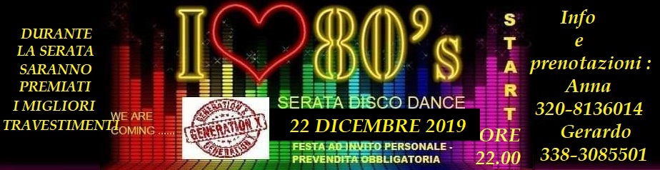 Serata disco dance anni 80