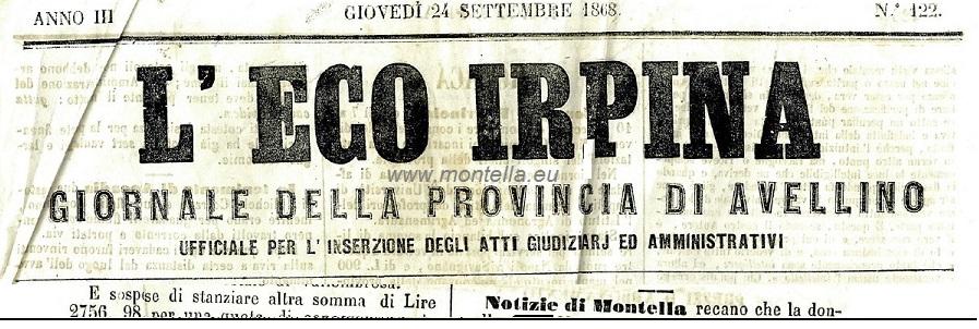 NOTIZIE DI MONTELLA - L'eco dell'irpinia 24 settembre 1868