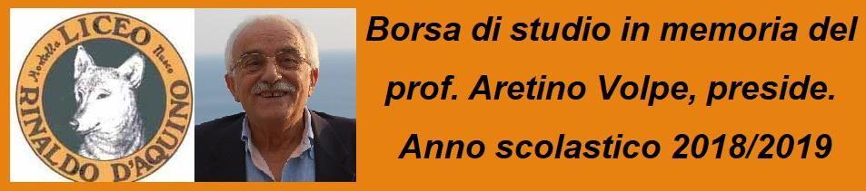 Borsa di studio in memoria del prof. Aretino Volpe, preside.   Anno scolastico 2018/2019