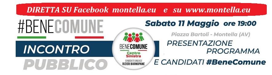 Montella : Bene comune sabato 11 maggio in piazza Bartoli per illustrare il programma