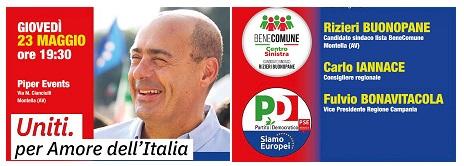 MONTELLA: 23 maggio Fulvio Bonavitacola e Carlo Iannace con Buonopane con  Bene Comune