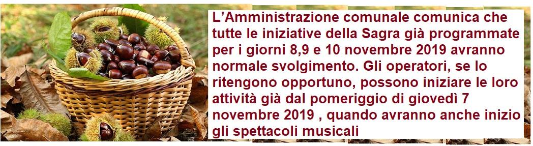 Sagra della castagna Montella  8 - 9 - 10 novembre 2019