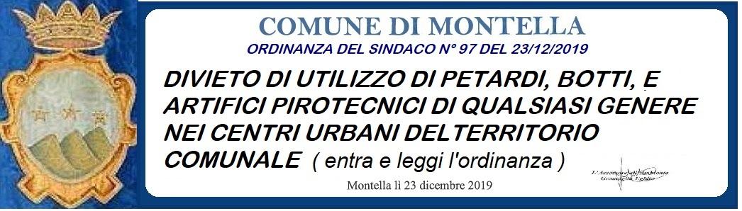 Ordinanza  Del Sindaco Di Montella N° 97 Del 23/12/2019