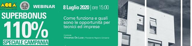 Superbonus 110% in Campania: l'8 luglio il Presidente della Regione De Luca al webinar di ACCA software e Centro Studi 'Alta Irpinia'