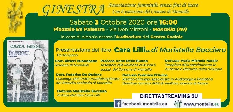 Ginestra , sabato 3 ottobre presentazione del libro Cara Lilli... di Maristella Bocciero