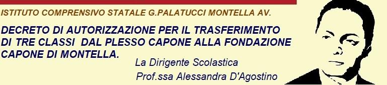 Decreto di autorizzazione per il trasferimento di tre classi dal plesso Capone