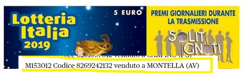 """Lotteria Italia, estrazione con """"I soliti ignoti"""" di Amadeus: 10mila euro anche a Montella"""