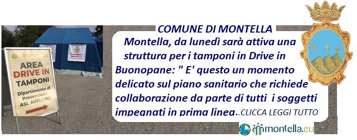 Montella, da lunedì sarà attiva una struttura per tamponi in Drive In