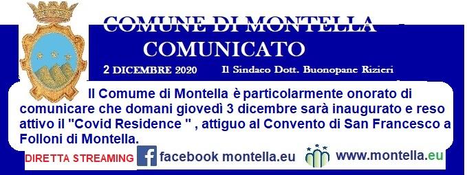 Comunicato del Comune di Montella del 2 dicembre 2020