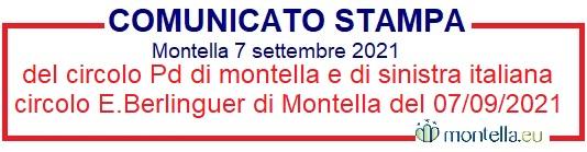 Comunicato stampa del circolo Pd di montella e di sinistra italiana circolo E.Berlinguer di Montella del 07/09/2021