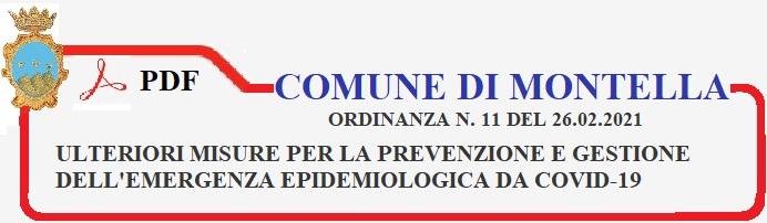 Ordinanza N. 11 del 26 febbraio 2021. Comune di Montella