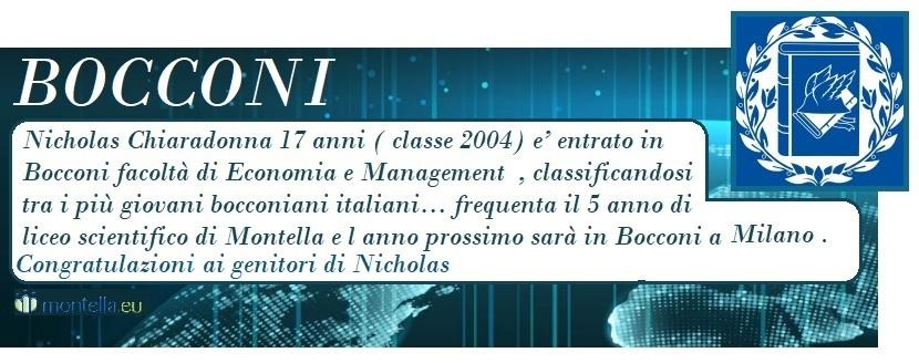 Nicholas Chiaradonna e' entrato in Bocconi facoltà di Economia e Management