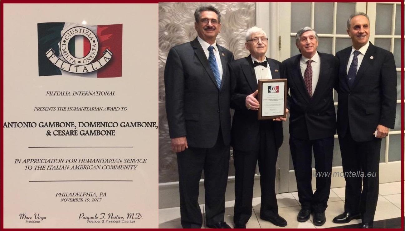 Filitalia International conferisce un riconoscimento prestigioso a tre montellesi in USA